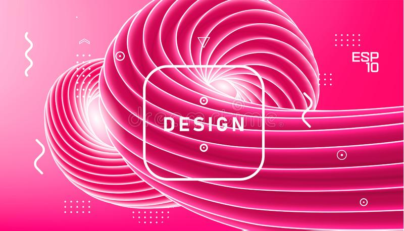Vector abstract design, gradient wavy minimal background. Trendy liquid 3d plastic pink wave. Sweet candy spiral swirl, abstract vector illustration
