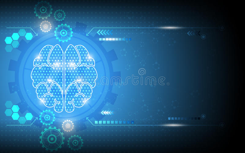 Vector abstract digital system brain genius working background. Eps 10 vector royalty free illustration