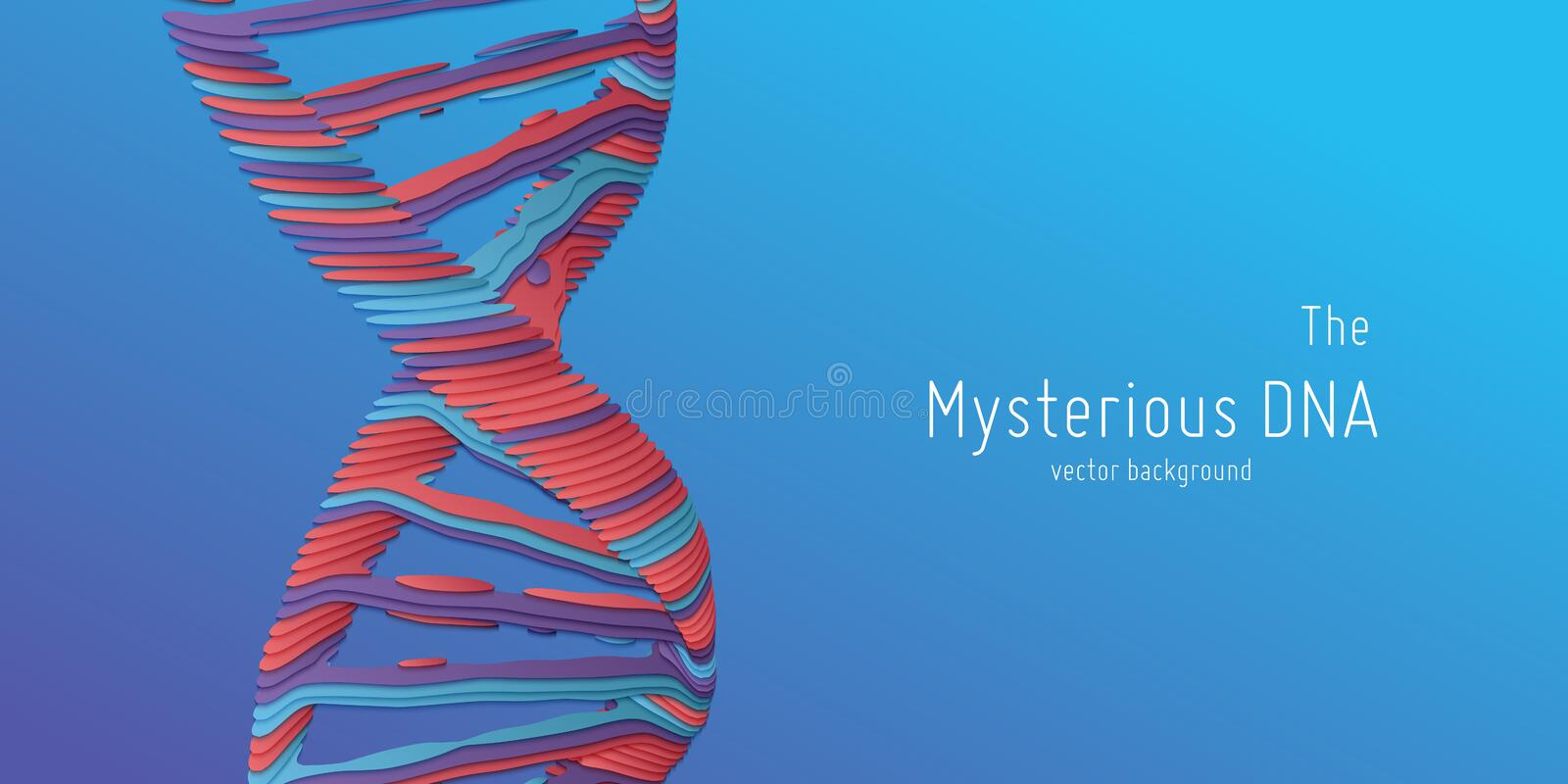 Vector abstract DNA double helix illustration as paper cut. Mysterious source of life background. Genom futuristic image royalty free illustration