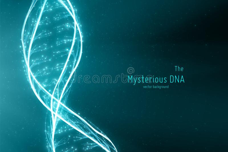 Vector abstract DNA double helix illustration. Mysterious source of life background. Genom futuristic image. Conceptual vector illustration