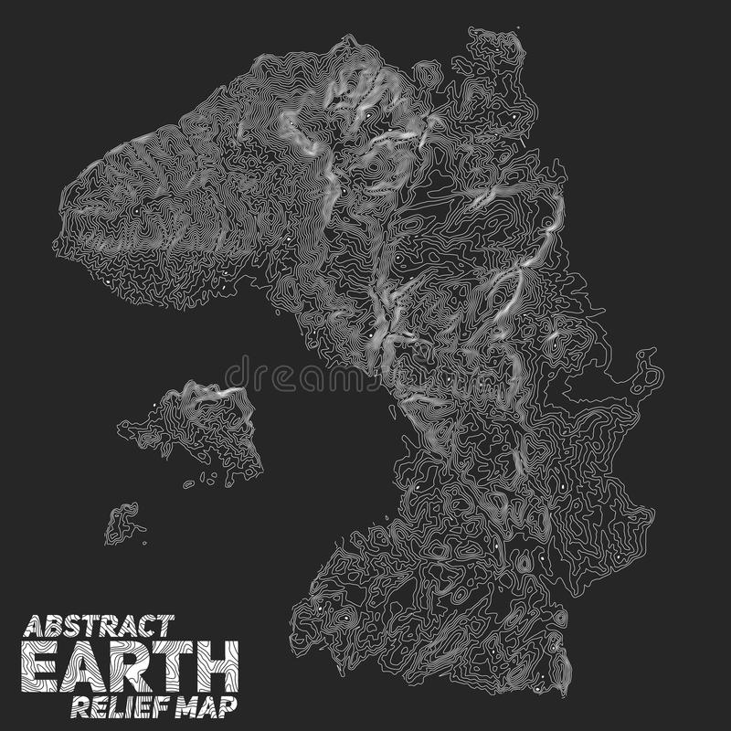 Vector abstract earth relief map. Generated conceptual elevation map vector illustration
