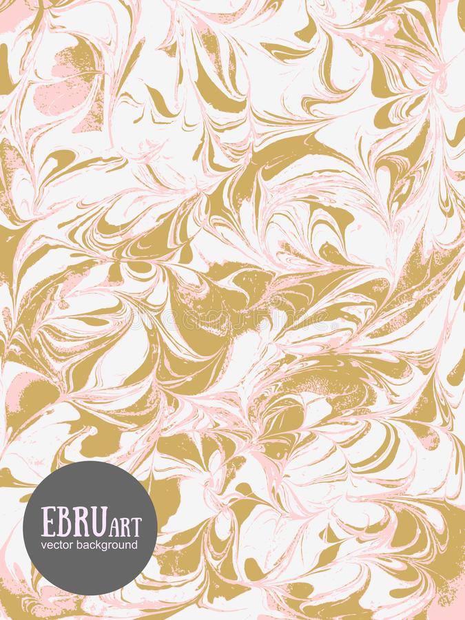 Vector abstract ebru background. Gold and pink splashes. stock illustration