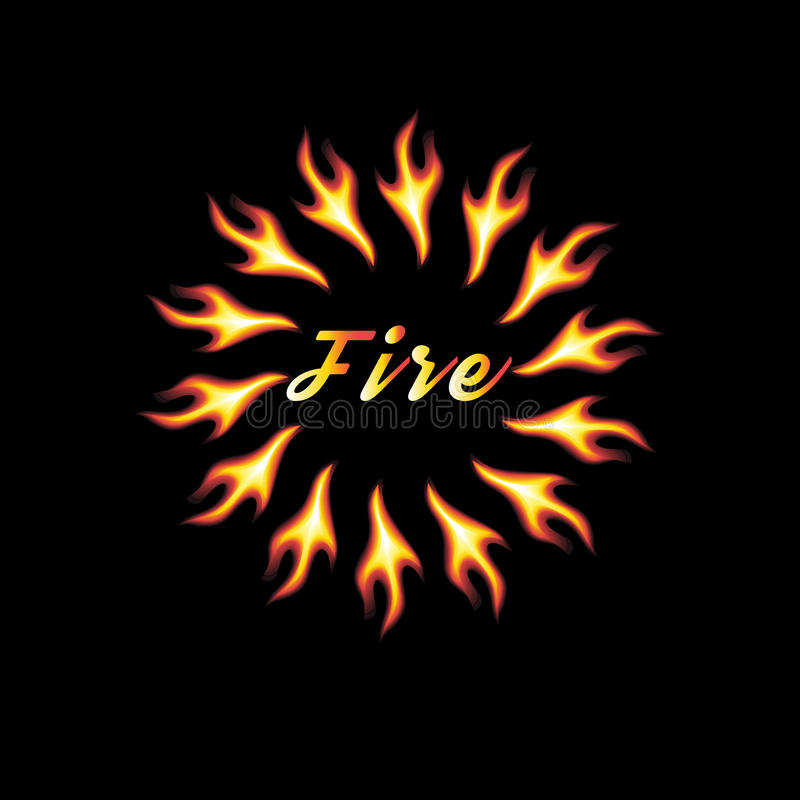 Vector abstract element of fire. On a black background with an inscription stock illustration