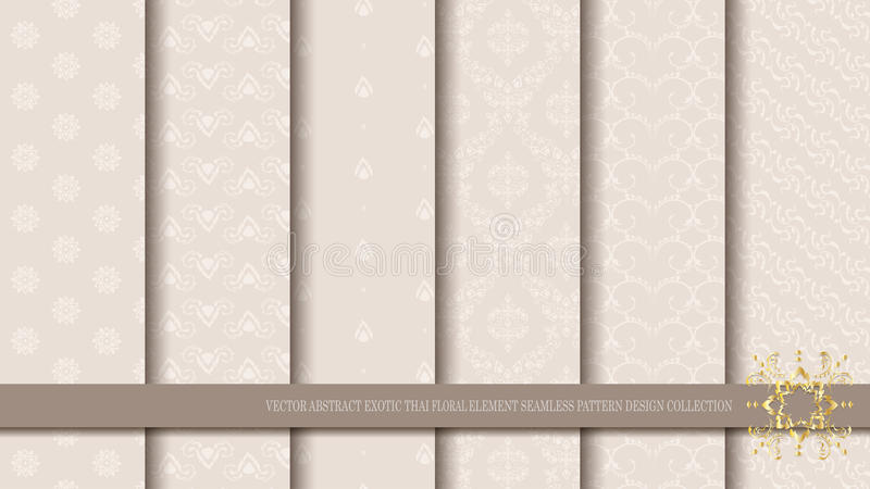 Vector abstract exotic Thai floral element seamless pattern design collection stock illustration
