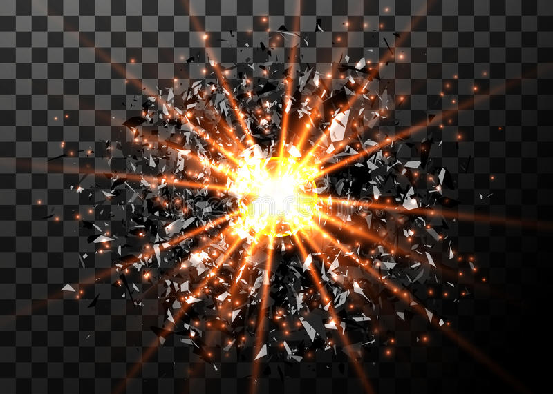 Vector abstract explosion background. Bright blast in dark. Glowing bright light. Digital graphic for brochure, website. Flyer, print, poster, other design stock illustration