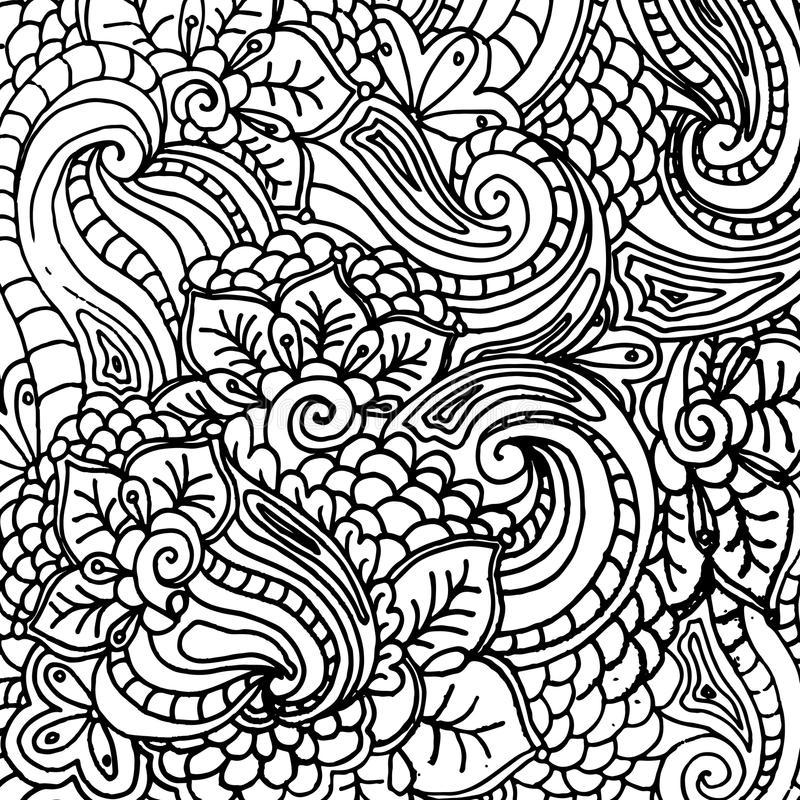 Download Vector Abstract Fantasy Pattern For Coloring Book Adults Page Design Freehand Ornament