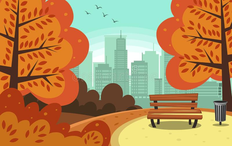 Vector abstract flat hand drawn autumn town park royalty free illustration