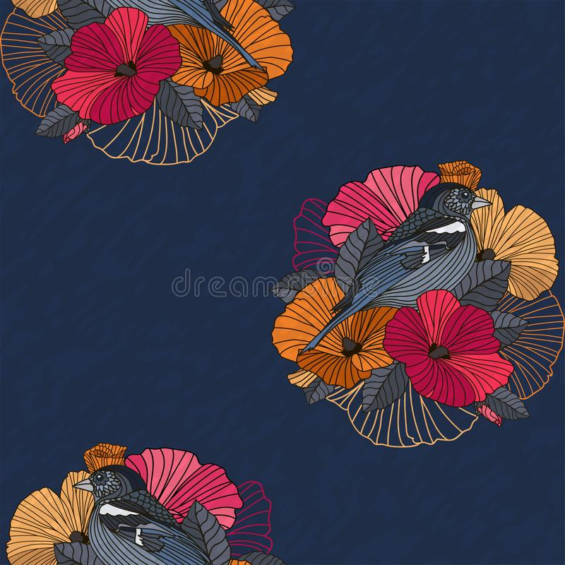 Abstract floral seamless pattern, bird and flower vector illustration