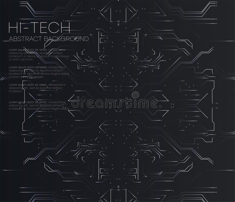 Vector Abstract futuristic circuit board, Illustration high computer technology dark black color background. royalty free illustration