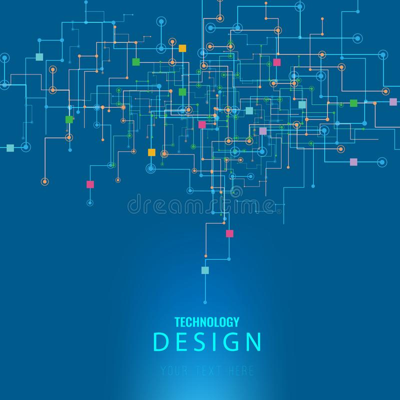 Vector Abstract futuristic circuit board, Illustration high computer technology dark blue color background. Hi-tech digital techno vector illustration