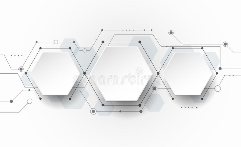 Vector Abstract futuristic circuit board on light gray background, hi-tech digital technology concept. Blank 3d paper polygon label with space for your content stock illustration