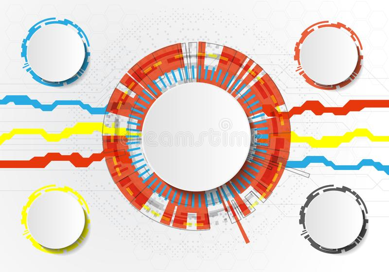 Vector Abstract futuristic circuit board on light gray background, hi-tech digital technology concept. Blank white 3d paper circle vector illustration