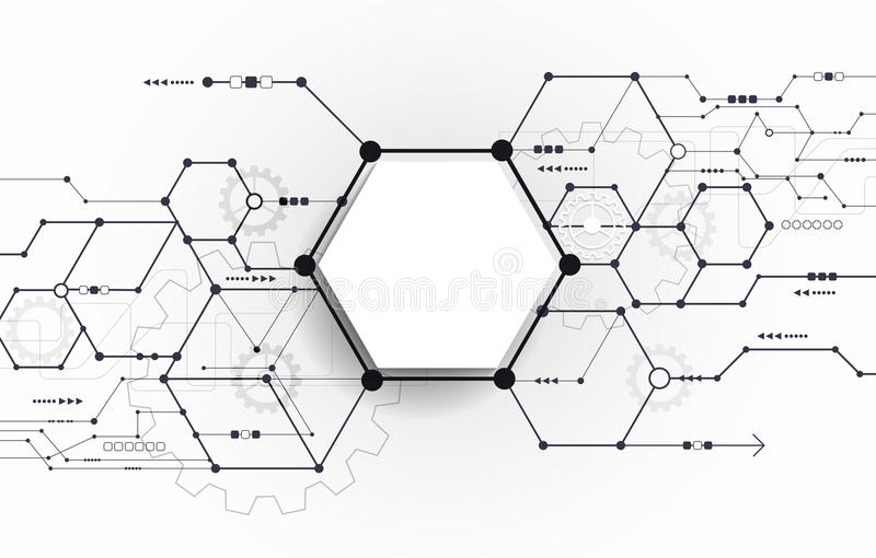vector abstract futuristic circuit board on light gray background stock vector