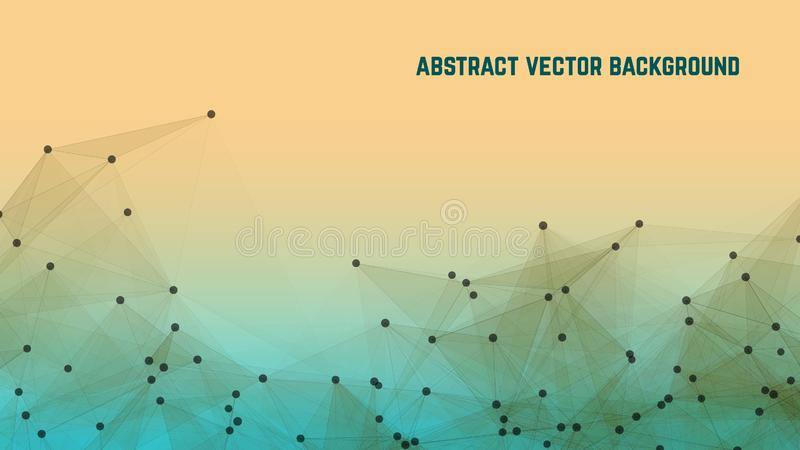 Abstract digital landscape with particles dots and stars on horizon. Connection structure. Intelligence artificial royalty free illustration