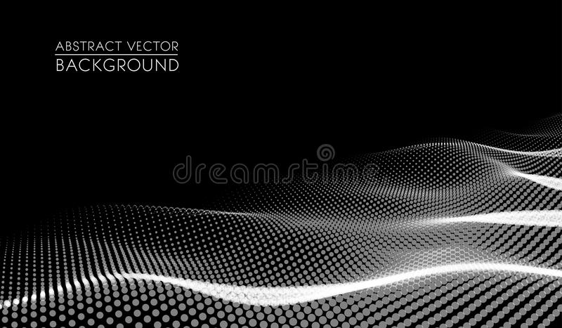Vector abstract futuristic digital landscape with particles dots and stars on horizon. Intelligence artificial. neon stock illustration