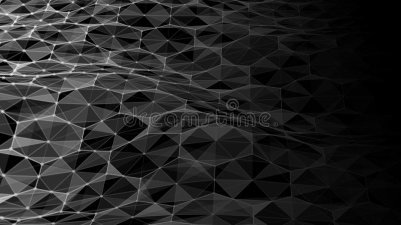 Vector abstract futuristic digital landscape with particles dots and stars on horizon. Intelligence artificial. neon royalty free illustration