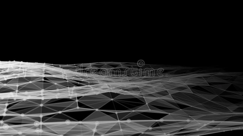 Vector abstract futuristic digital landscape with particles dots and stars on horizon. Intelligence artificial. neon vector illustration