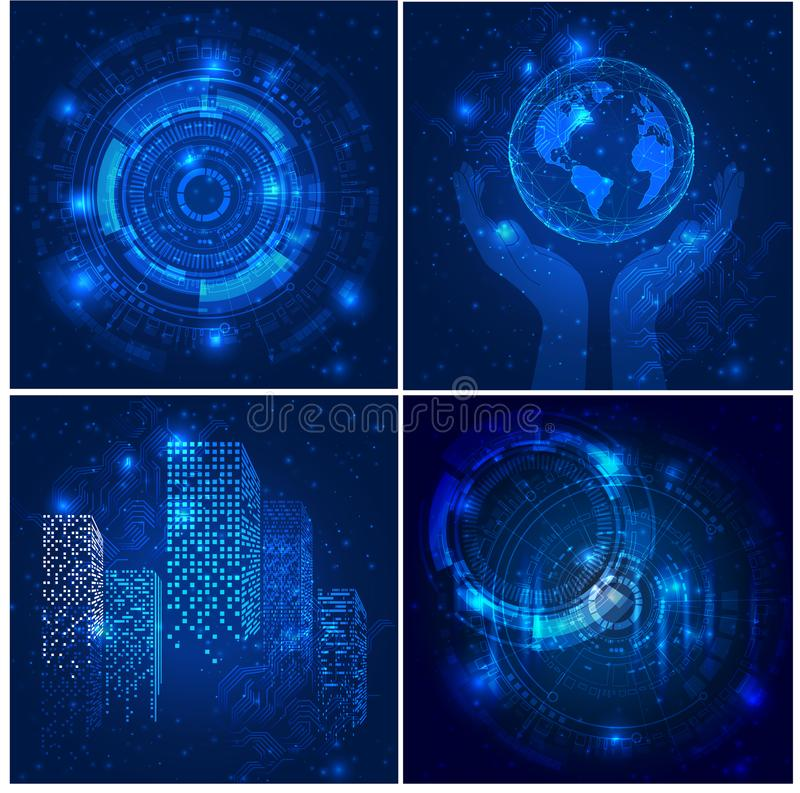 Vector Abstract futuristic posters, Illustration high computer technology dark blue color background. stock illustration