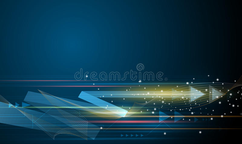 Vector Abstract futuristic, speed and motion blur over dark blue background royalty free illustration