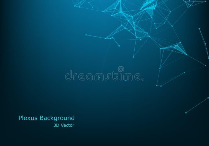 Vector abstract futuristisch digitaal landschap met deeltjespunten en sterren op horizon computer geometrische digitale verbindin royalty-vrije illustratie