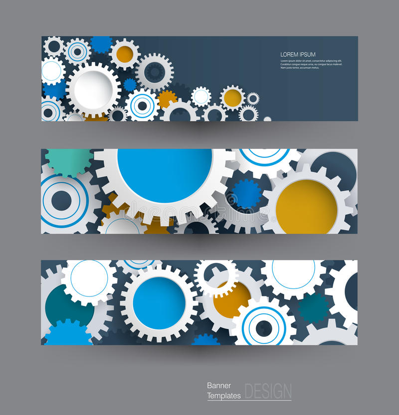 Vector abstract gear wheel, banners set. High tech technology and engineering background stock illustration