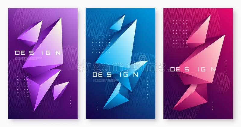 Vector abstract geometric backgrounds with 3d triangular shapes, colorful minimal cover designs, polygonal futuristic posters. royalty free illustration