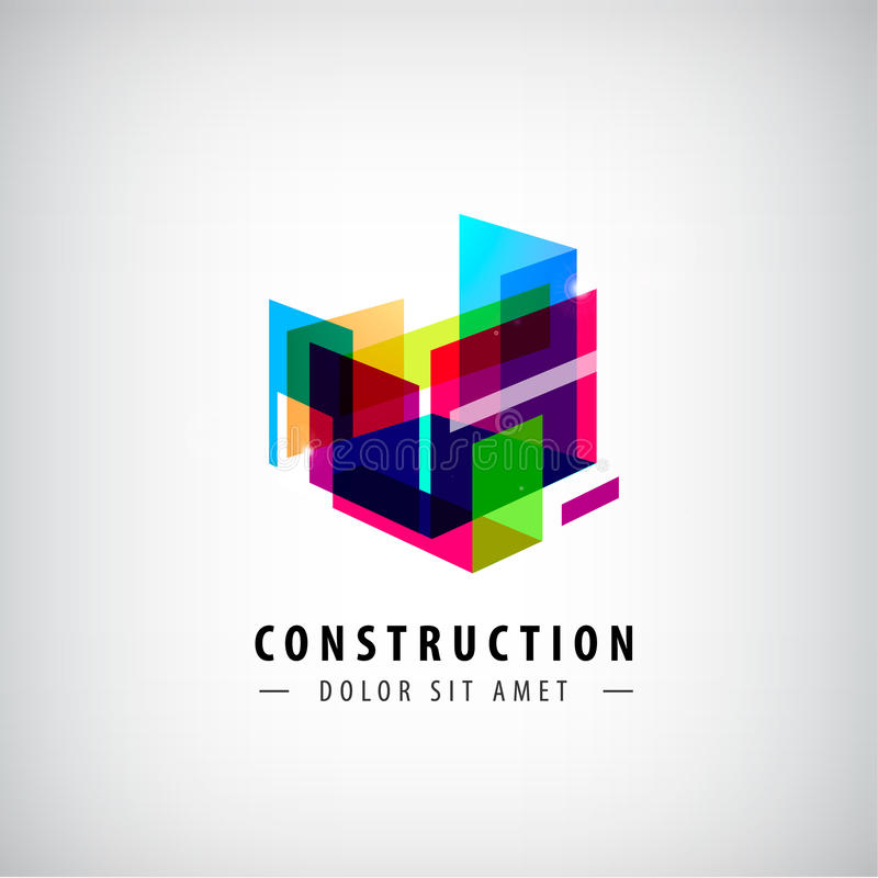 Vector abstract geometric construction, structure logo. Colorful 3d architecture stock illustration