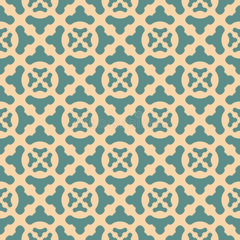 Vector abstract geometric floral seamless pattern in tan and teal colors royalty free illustration