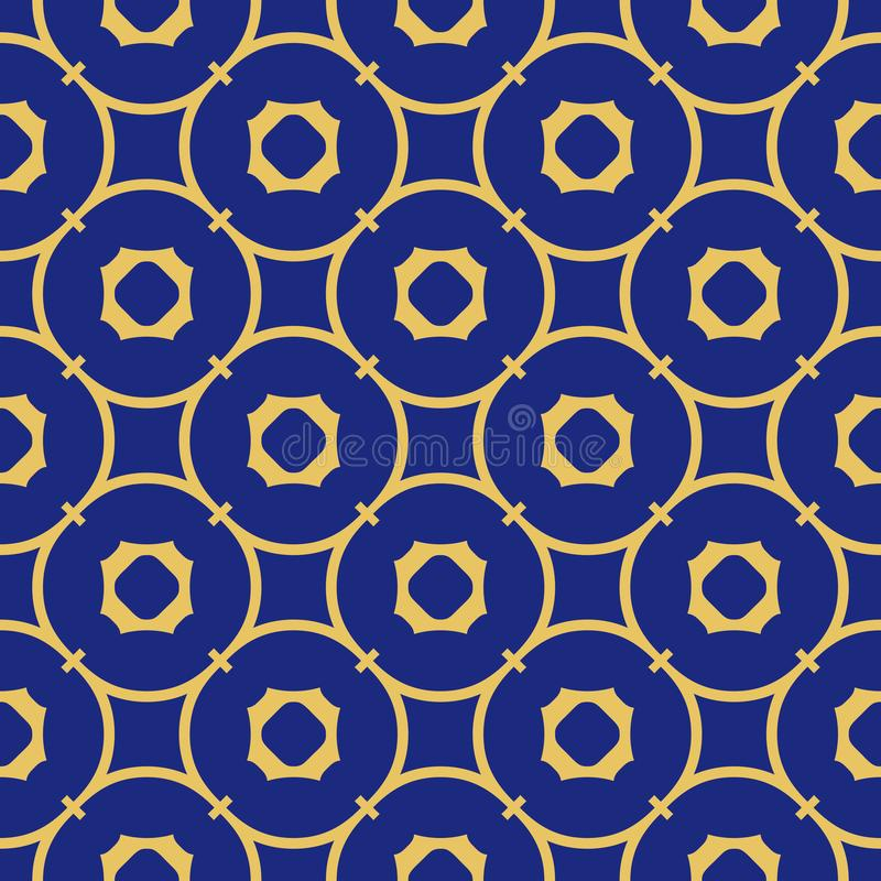 Free Vector Abstract Geometric Seamless Pattern. Deep Blue And Yellow Ornament Royalty Free Stock Photography - 159867767