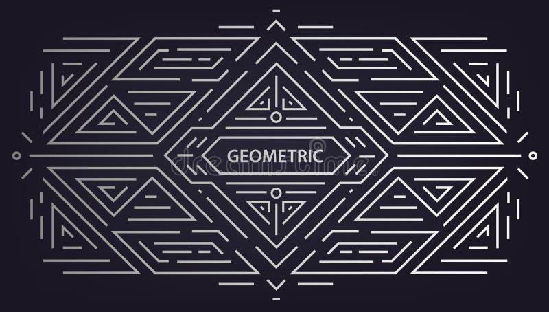 Vector abstract geometrisch art decokader, grens, achtergrond Lineaire in stijl Het ontwerpelementen van het monogramart deco bin royalty-vrije illustratie