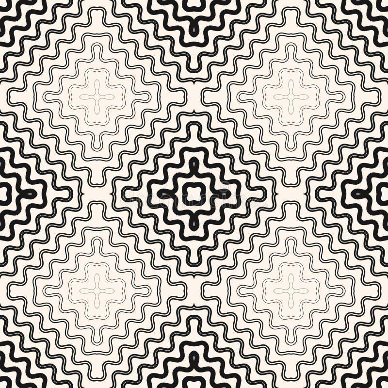 Vector abstract geometrisch naadloos patroon met radiale halftone, dunne golvende lijnen stock illustratie