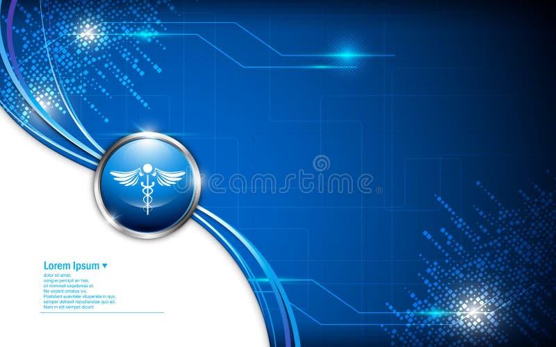Vector abstract gezondheidszorgembleem op technologie-patroonachtergrond stock illustratie