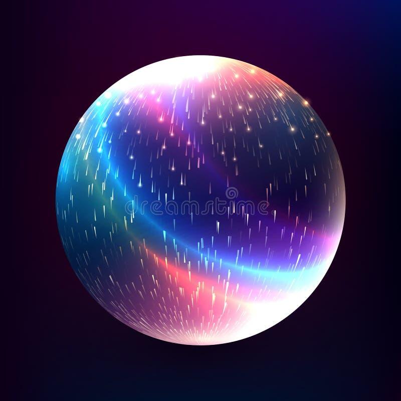 Vector abstract gloeiend magisch gebied 3d planeetconcept Vorm o vector illustratie