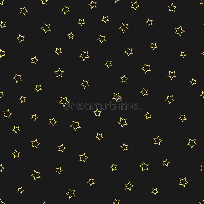 Vector abstract gold stars outline seamless pattern on the black background stock illustration