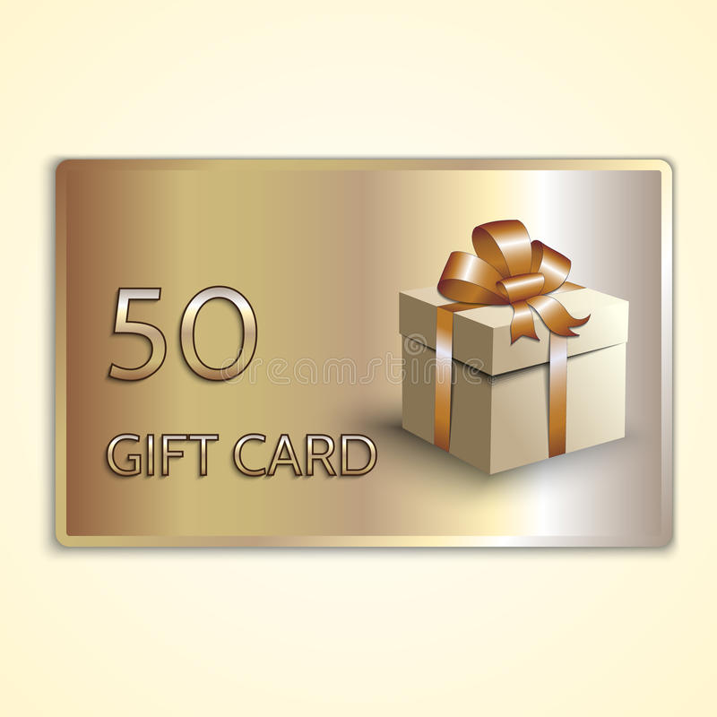Free Vector Abstract Golden Gift Card With Box Royalty Free Stock Photo - 52532815