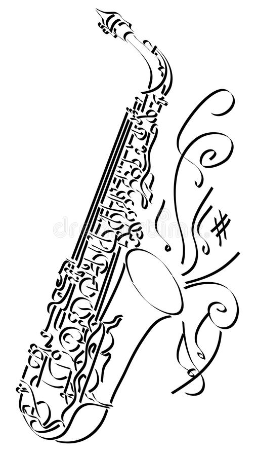 Vector abstract illustration drawing of saxophone. Vector abstract graphic arts sketch of drawing saxophone black ink stock illustration