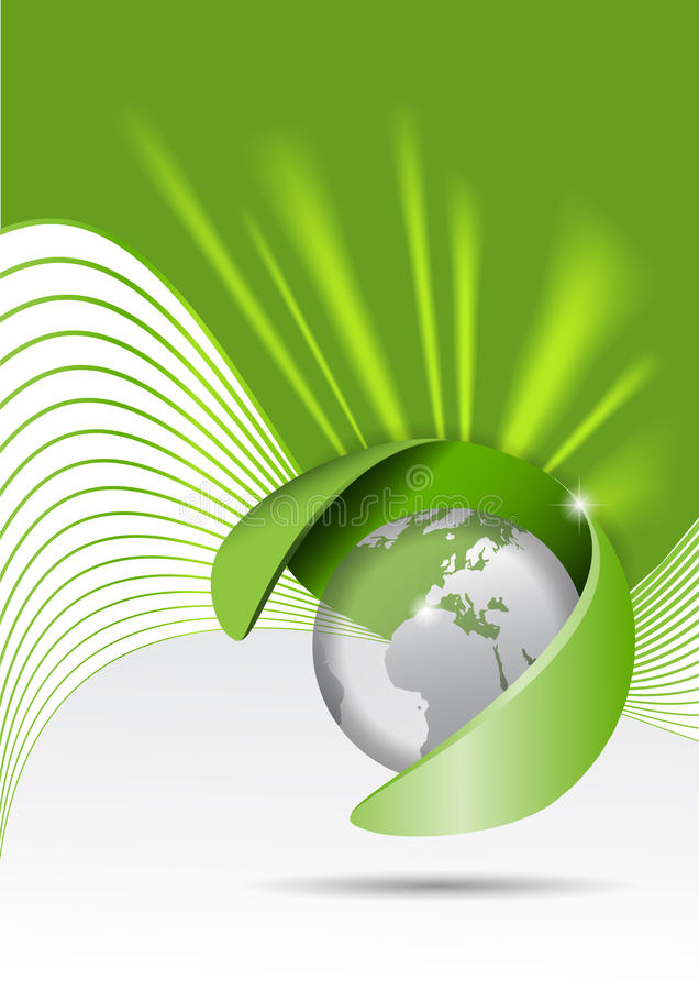 Vector abstract green background with a globe and rays royalty free illustration