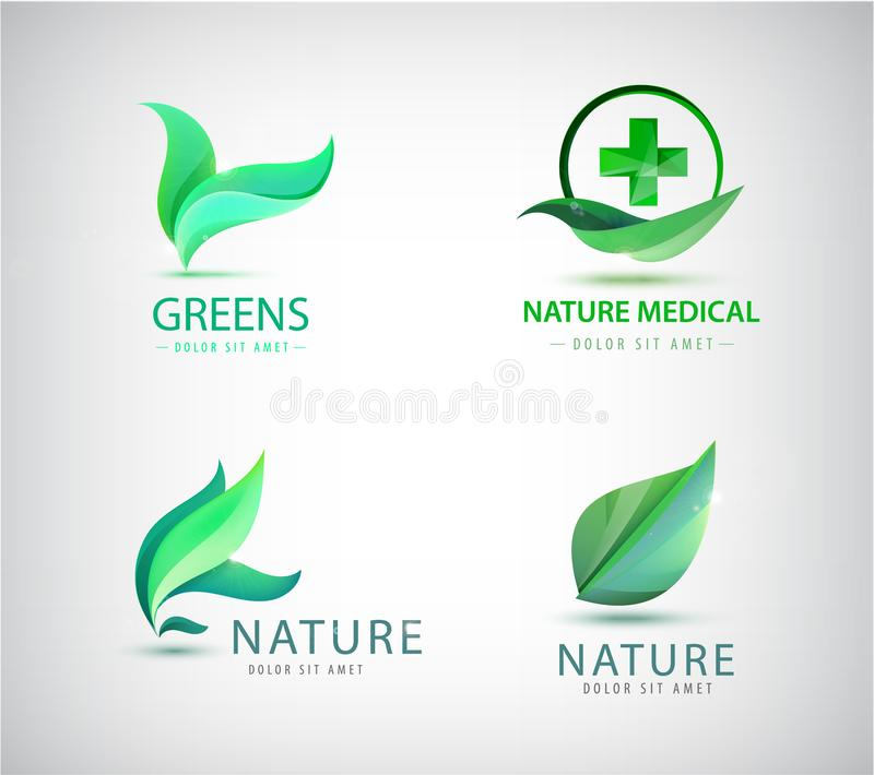 Vector abstract green leaf logo, leaves icons. garden, Plant, nature and eco. Ecology Happy life Logotype concept icon. Natural cosmetics, food, healthcare vector illustration