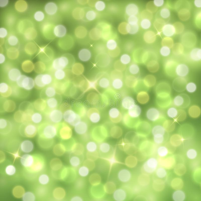 Vector abstract green sparkling background with blurred lights royalty free illustration