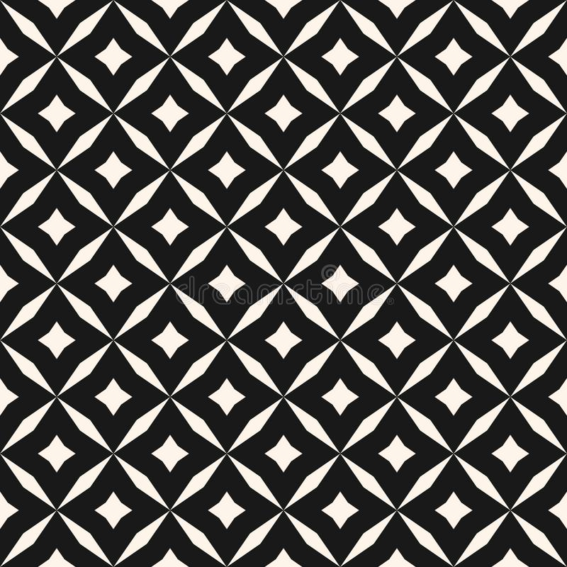 Black and white vector abstract seamless pattern with grid, diamond shapes, stars, rhombuses, lattice, repeat tiles stock illustration