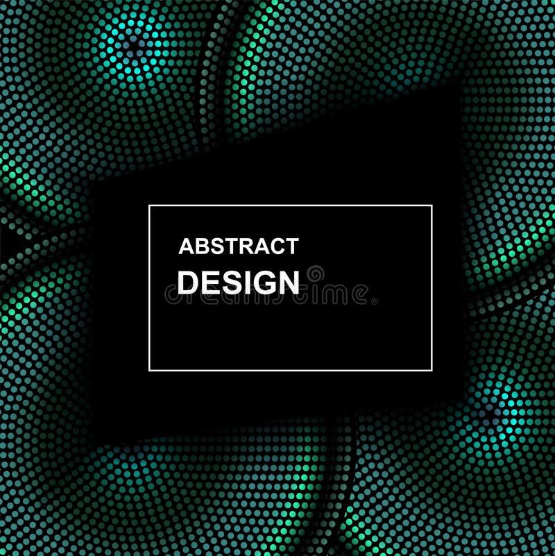 Vector abstract halftone circle frame. Abstract dotted gradient logo design elements. Grunge halftone textured pattern with dots stock illustration
