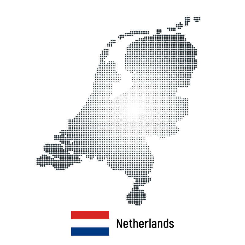 Vector abstract halftone illustration of Netherlands map with national flag. Isolated on white background vector illustration