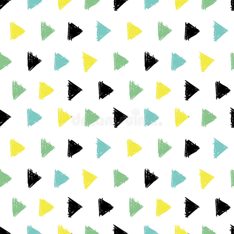 Vector Abstract Hand Drawn Black, Green, Yellow Ink Geometric Arrows Triangles Pattern With Fun Circles. Great for. Vintage fabric, cards, invitations, clothing stock illustration