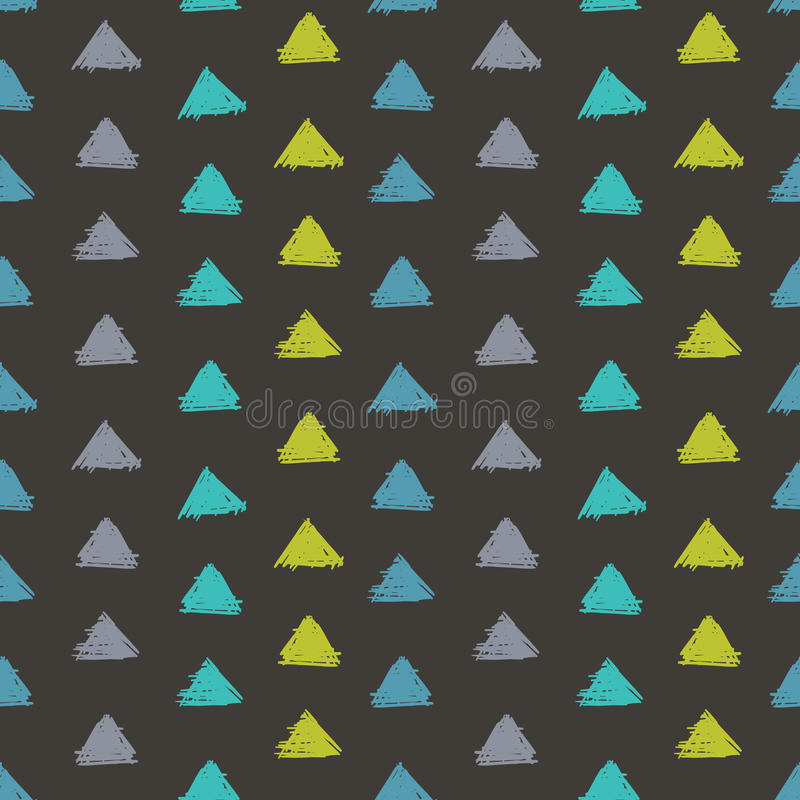 Vector Abstract Hand Drawn Grey, Green, Blue Ink Geometric Arrows Triangles Pattern With Fun Circles. Great for vintage. Fabric, cards, invitations, clothing royalty free illustration