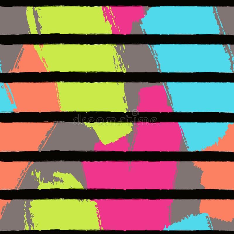 Vector abstract hand getrokken naadloos patroon met geometrische en borstel geschilderde elementen vector illustratie