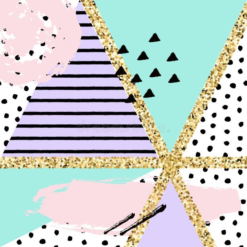 Vector abstract hand getrokken patroon met geometrische en borstel geschilderde elementen stock illustratie
