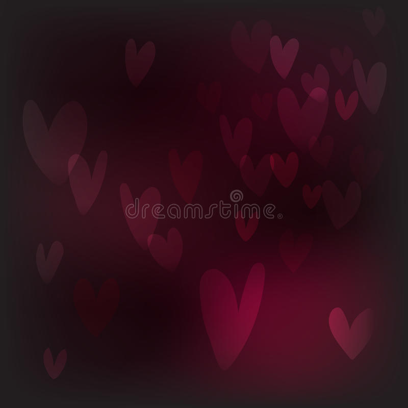Vector abstract heart bokeh background, festive defocus vector illustration