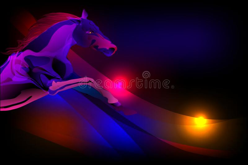 Vector abstract horse with lighting effect and ultra violet shaded wavy background, vector illustration vector illustration