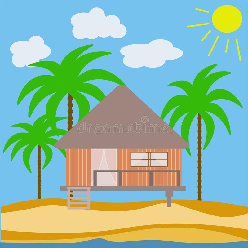 Vector abstract house of a wooden bungalow. On the seashore in the sand with palm trees with the sun. architecture landscape on yellow background vector illustration