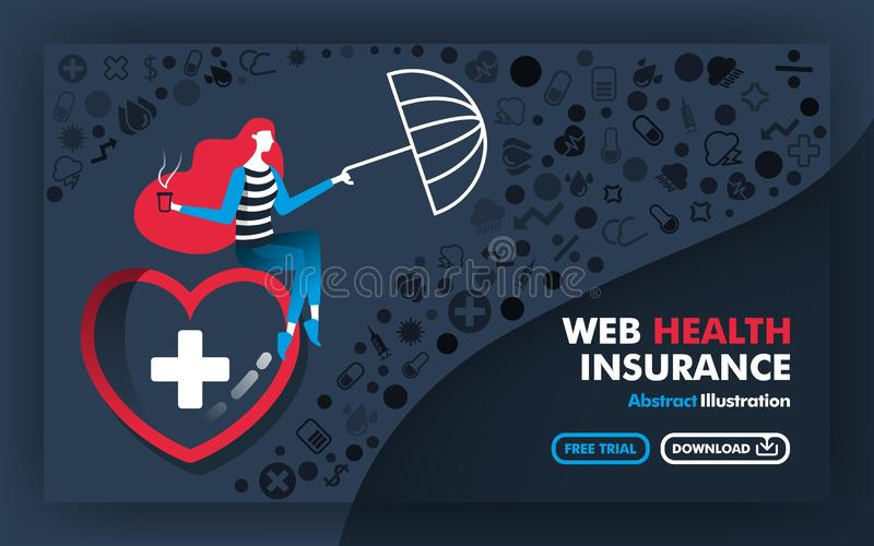 Vector abstract illustration .Banners and posters in gray. with the title of web health insurance. the woman sitting in the big he vector illustration